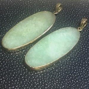 Jewelry - GORGEOUS Semiprecious stone green & gold pendants